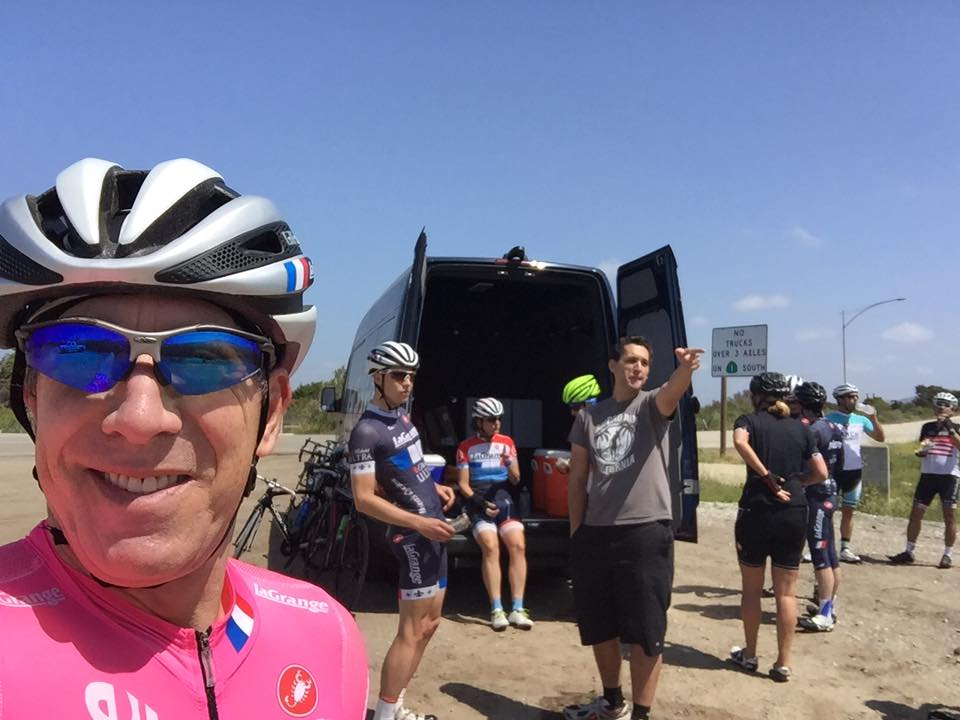 Big thanks to Louis Bianco for driving SAG all day (and night) to Santa Barbara and back for the La Grange century ride. And Rich Hirschinger for organizing and taking selfies.