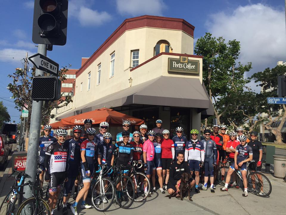 The La Grange century crew gathers at Peet's before the ride to Santa Barbara.
