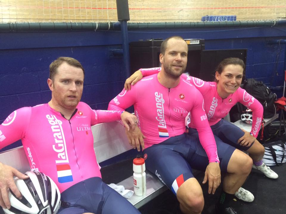 Todd Schoenbaum, David Miller and Track Captain Kate Wymbs at LAVRA Friday Night Racing at the velodrome in Carson.