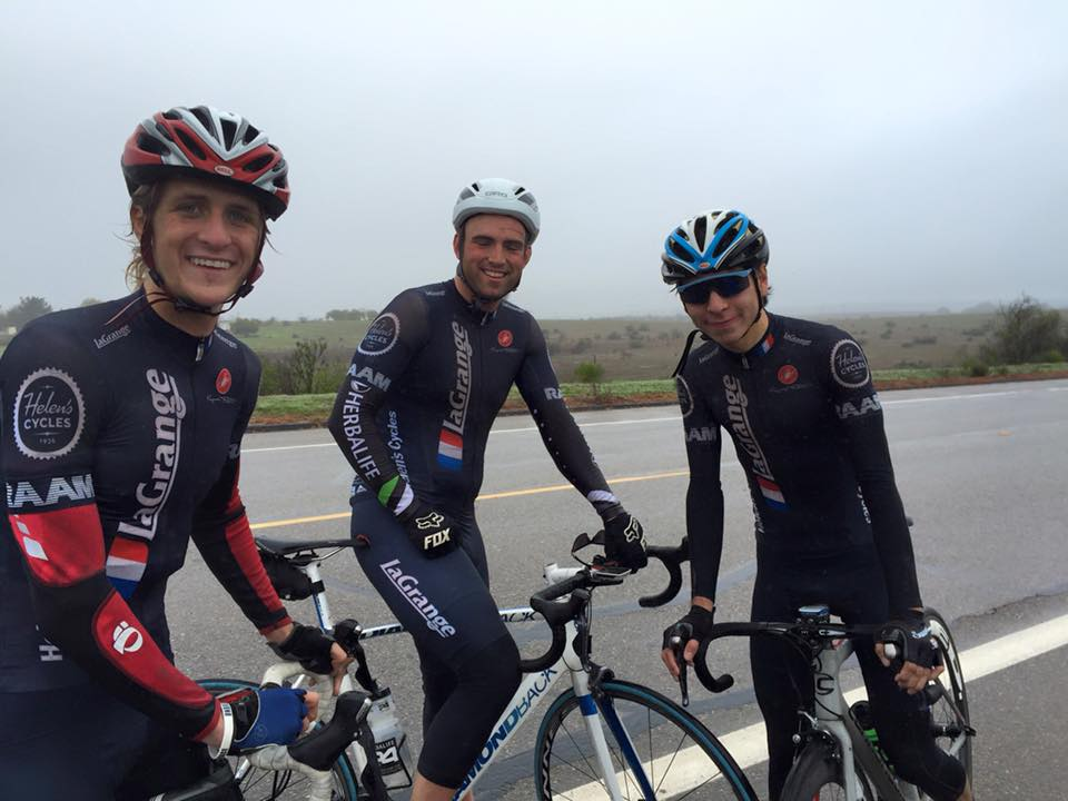 "Charlie Herndon, Jason Buchanan and Alex Deroche eating ""Belgian Toothpaste"" at the Santa Barbara County Road Race."