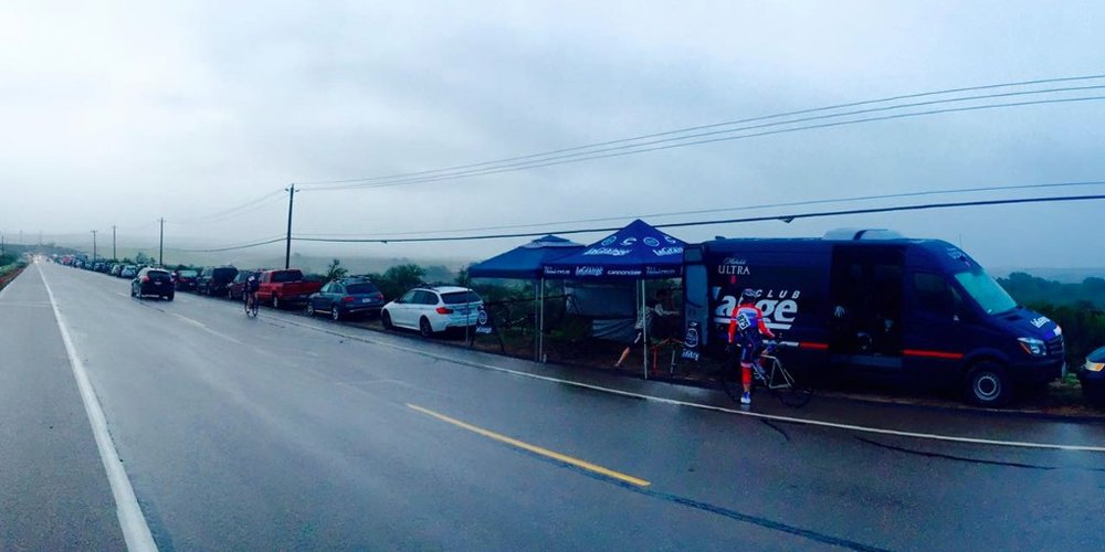The Michelob Ultra La Grange Sprinter Van came in handy on a rainy race day at the Santa Barbara County Stage Race.