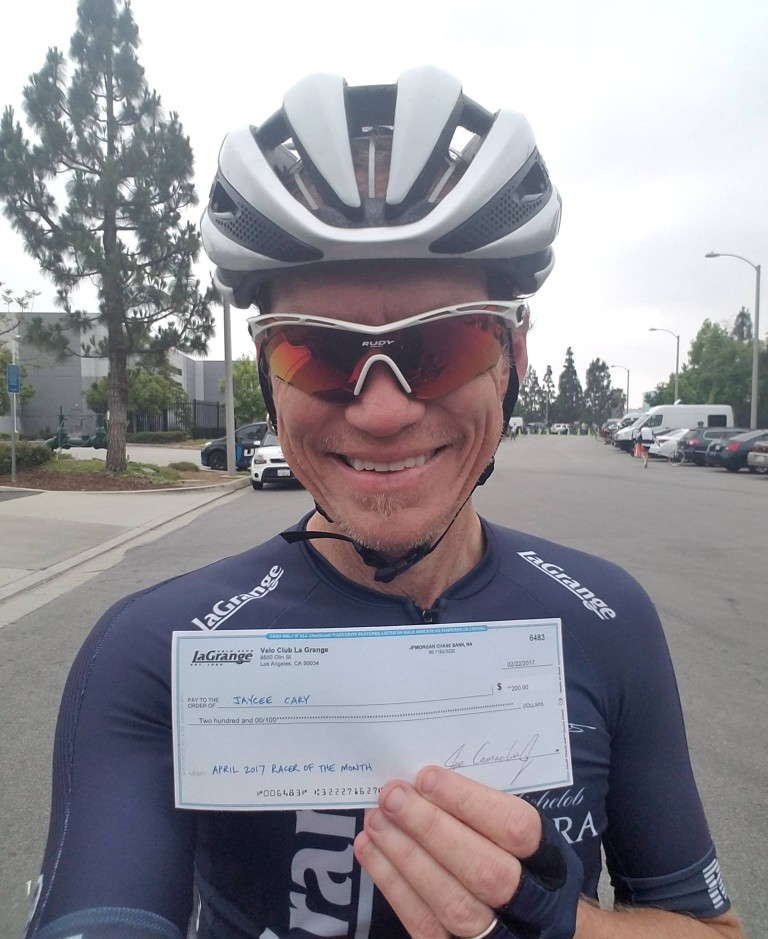 Jaycee Cary not only designs socks and kits (you DO know he co-designed the Nichols kit, right?) but he also wins races. BIG races! April saw Jaycee win the Masters B Tour of the Gila, and you got to read all about it in last month's La Voix!