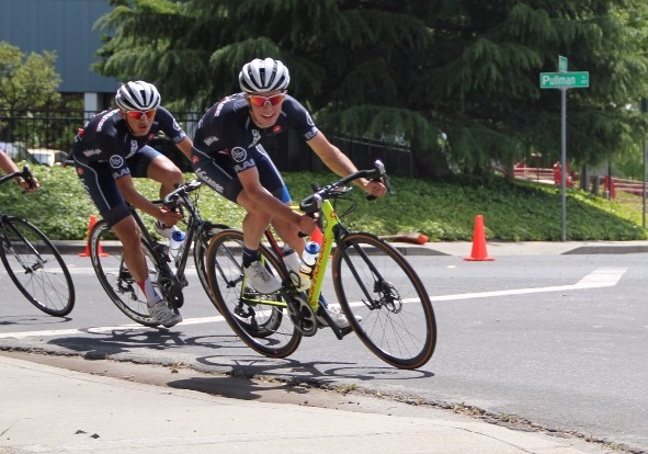 Eric Byan and Ethan Frankel at the Memorial Day Classic Criterium.