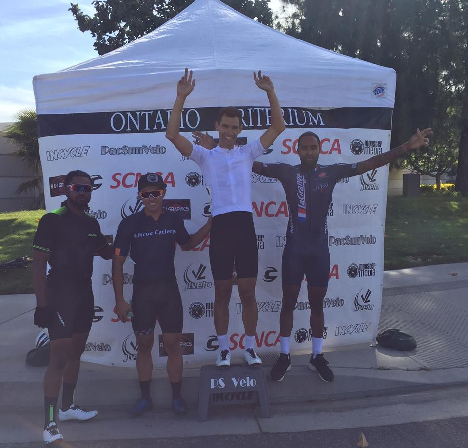 Elijah Shabbaz on the podium in the 4/5 race at the Easter Sunday Ontario Criterium!