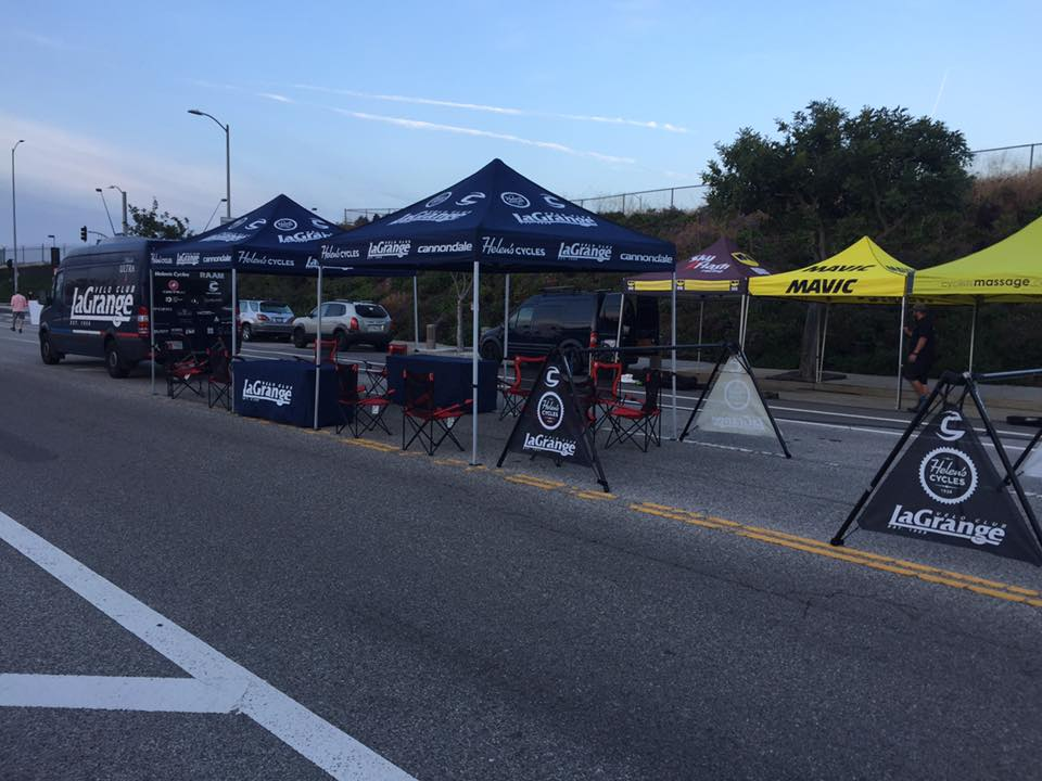 Camp LG was up and running at daybreak for this year's LA Circuit Race on Westchester Parkway.