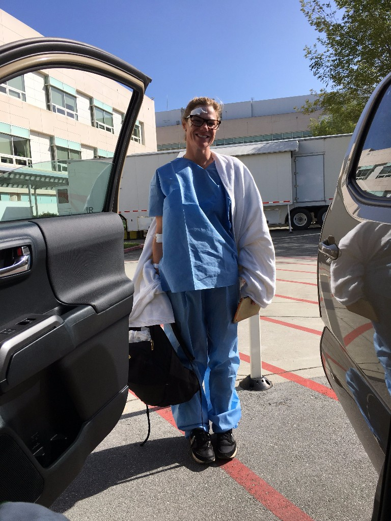 Cari Smulyan took a spill, made a visit to the hospital, but came out OK and smiling.