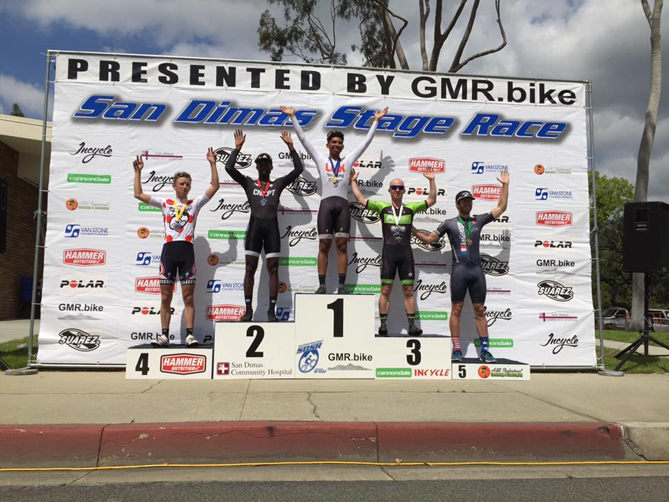 Patrick Barrett on the Cat 3 podium for the Stage 3 Criterium at the San Dimas Stage Race! Later that week, he helped recycle a rocket or something along those lines.