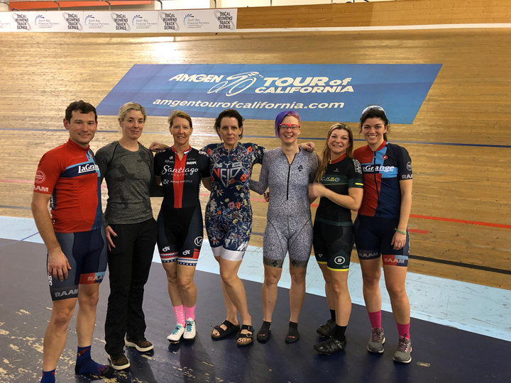 Katy Olesnavage (right) attended both intro and intermediate track clinics that were coached by Chris Birch (second from left) with help from Zach LaBry (left).