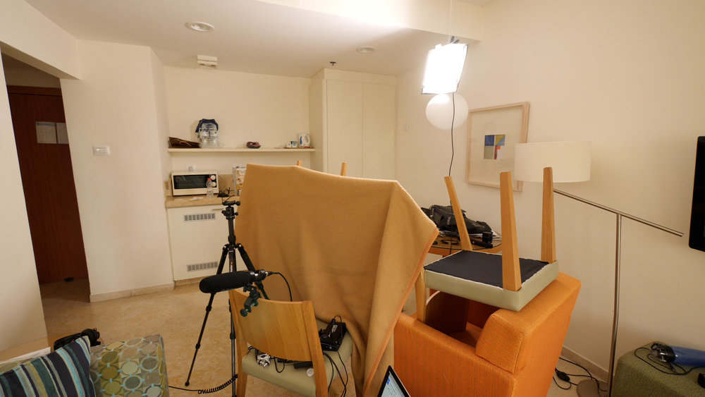Griffin's podcast setup in his Tel Aviv hotel