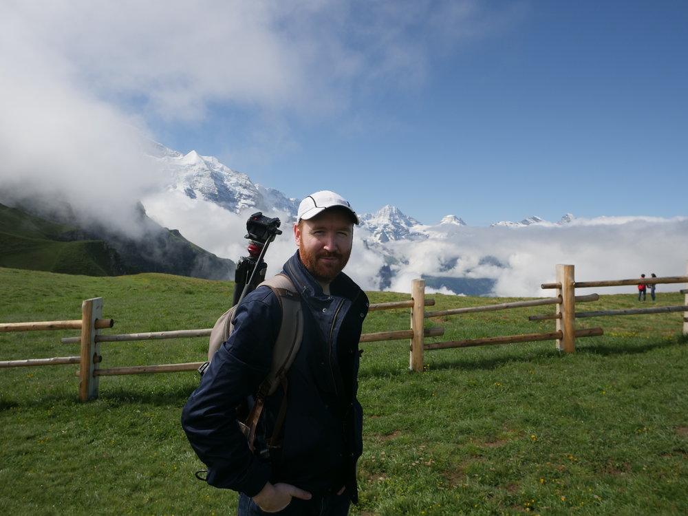Griffin using the ThinkTank Perception Pro backpack in Grindelwald, Switzerland last week.