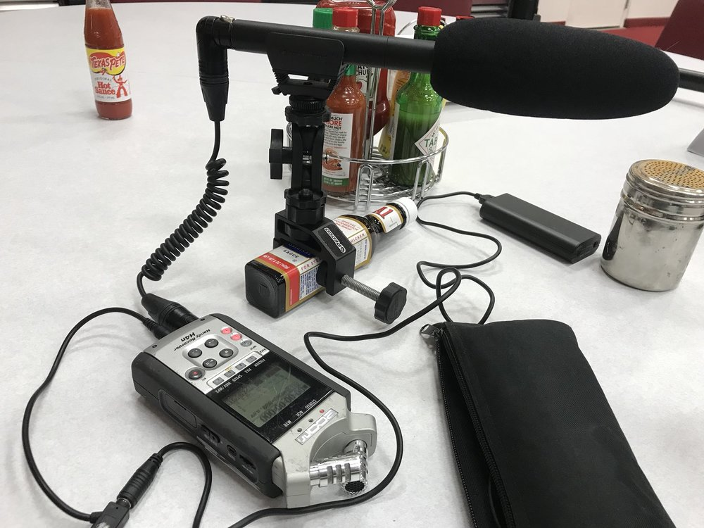 Patrick Gavin shared this photo on Twitter —using an A1 Steak Sauce bottle plus  Pedco Ultra Clamp  as a makeshift mic stand.