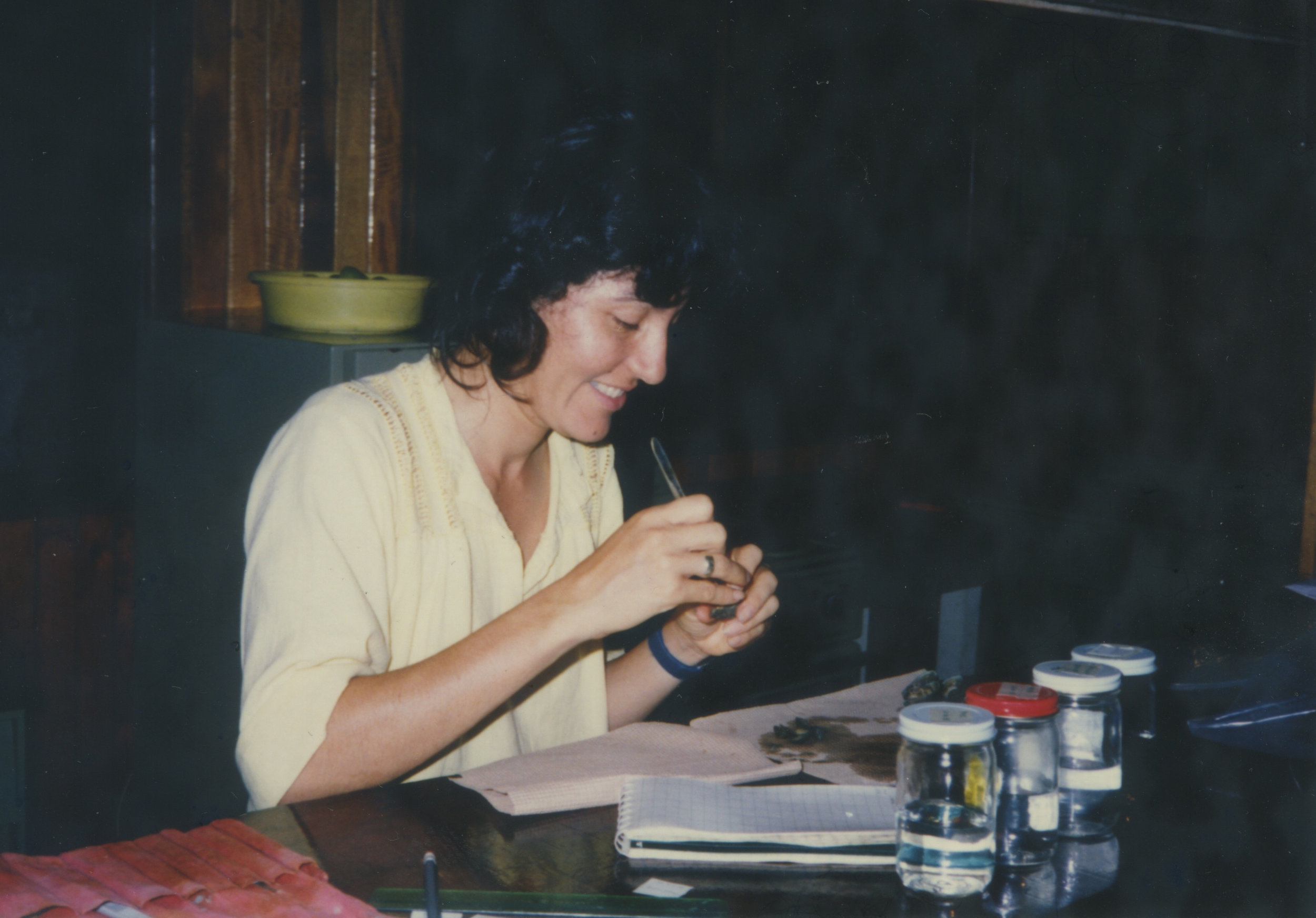 "1984. Sonia works on her dissertation in the ""lab"" while in Costa Rica looking at limpets"