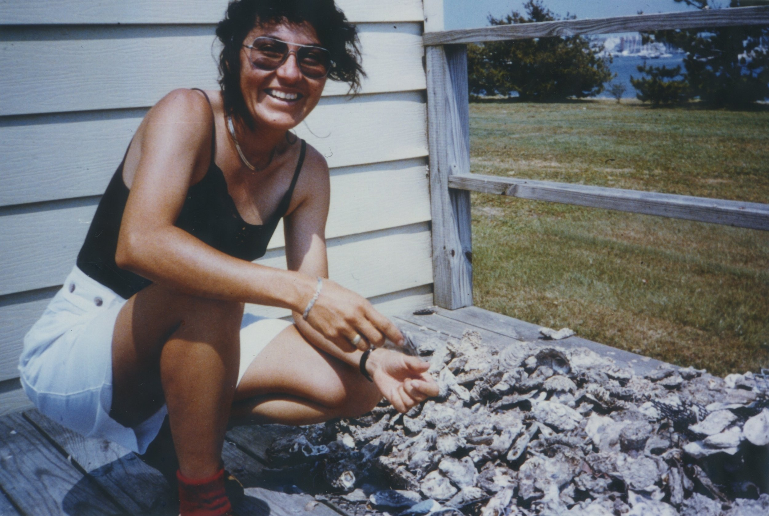 Sonia in 1987, at Duke Marine Lab, selecting oyster shells to use in her experiments