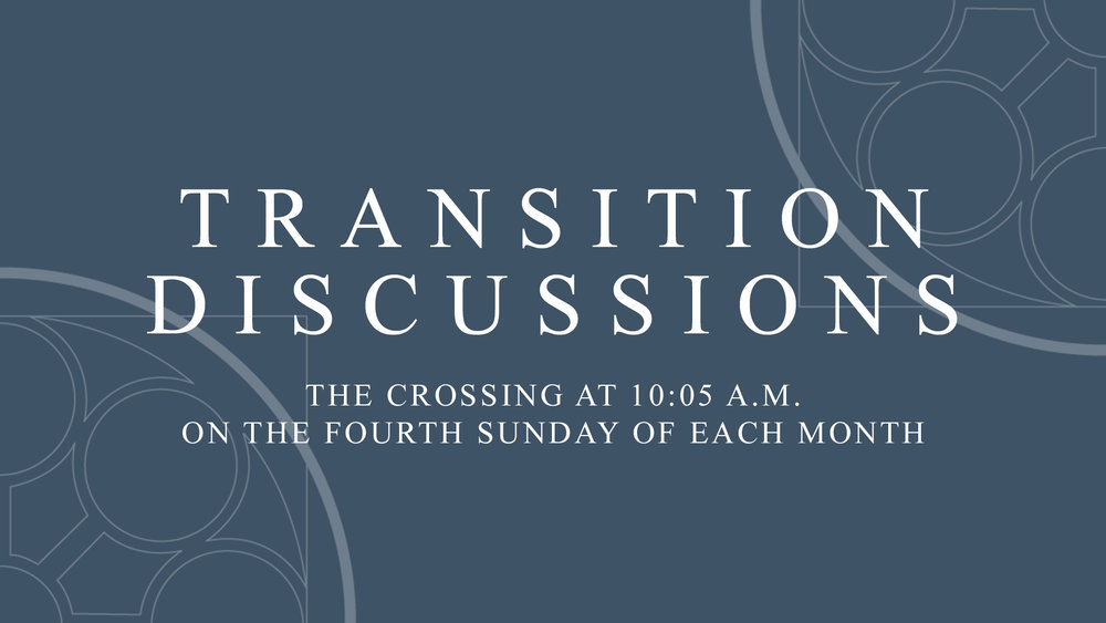 Transition Discussions -  The Transition Team is working to provide regular updates on the progress of the pastoral transition. An opportunity for information is to meet members of the Transition Team in the Crossing at 10:05 a.m. on the fourth Sunday of each month to have an informal discussion on the transition starting Sunday, April 28. You can also  send questions to  transition@napc.org