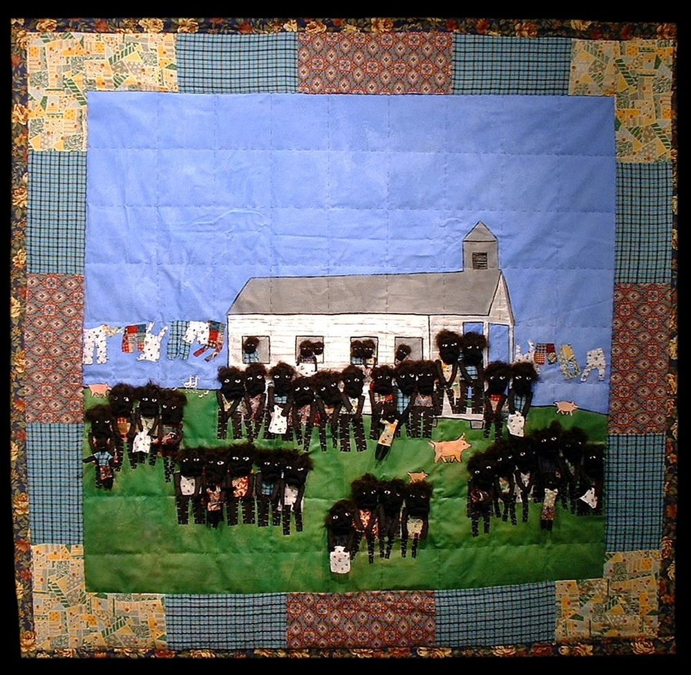 Swing Low 2008 pieced fabric and quilted fabric 7 ft x 6.5 ft  This quilt examines the synergy between quilts and Negro spirituals and how both have served as a source of protection for generations of African-Americans.