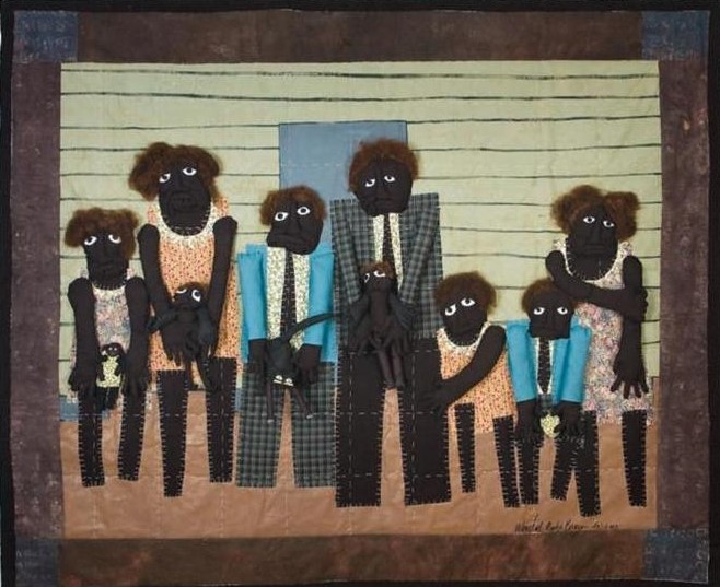 Bound for the Promised Land 2008 pieced fabric and quilted fabric 7 ft x 6.5 ft  This work teaches viewers about the Great Migration. The migration was a movement of six million African-Americans out of the rural Southern United States to the urban Northeast.