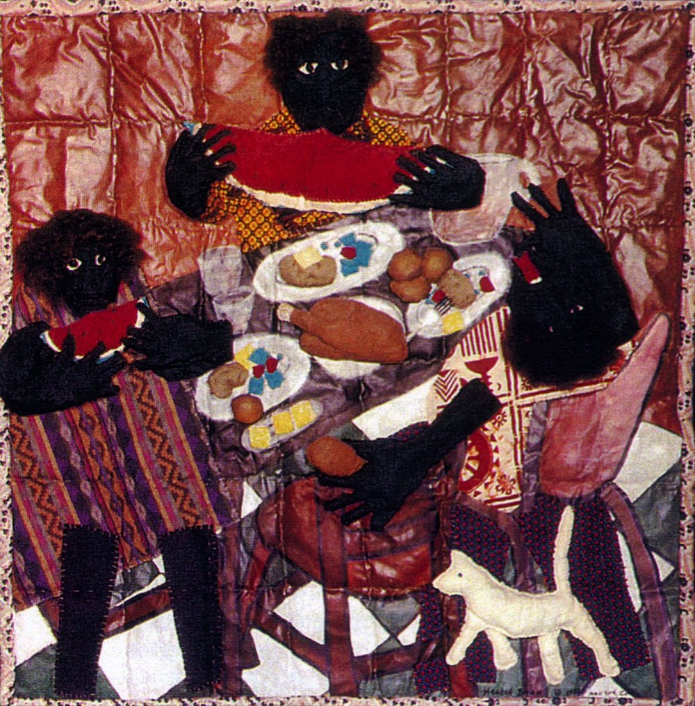 Chicken, Water Melon and Green Peas  1993 pieced fabric and quilted fabric 6 ft x 6 ft  Inspired by African masks and sculptures, this work is a conversation about the many stories of African-Americans in this country.