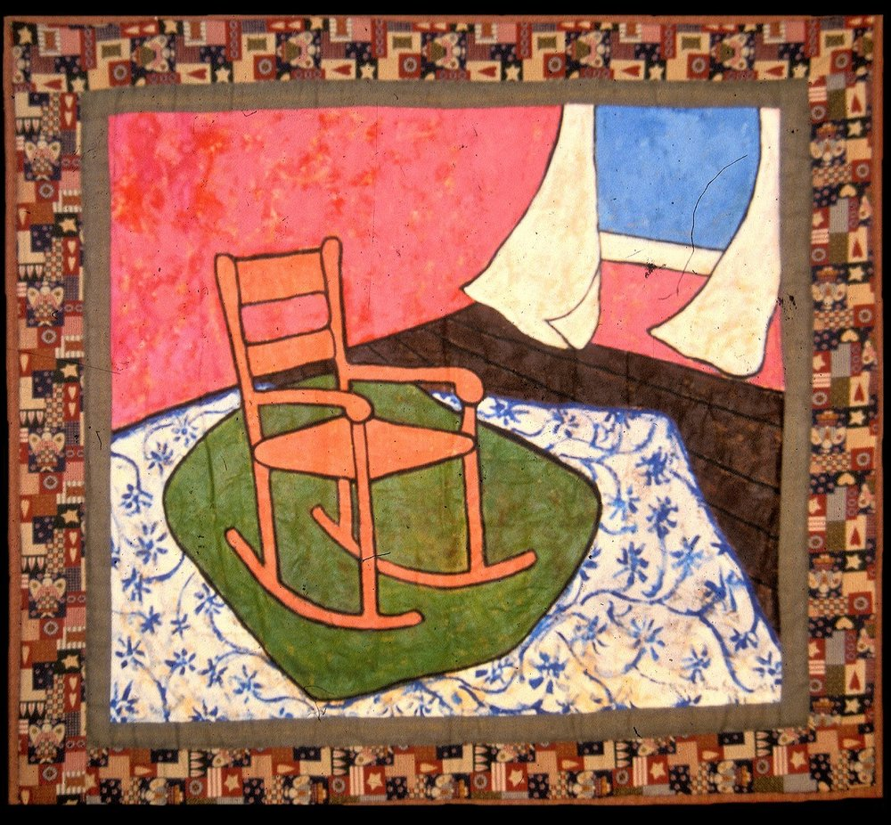 Remembering the Spirit  2000 pieced fabric and quilted fabric 6 ft x 6 ft  This work visually documents the life and history of unknown African-Americans and their contributions to this country.