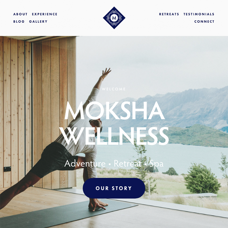 Moksha Squaresoace template | Honey Pot Digital