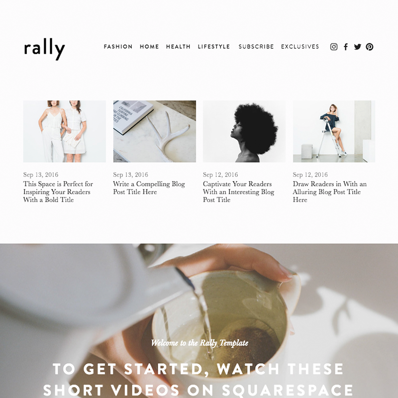 Rally Squarespace Template | Honey Pot Digital