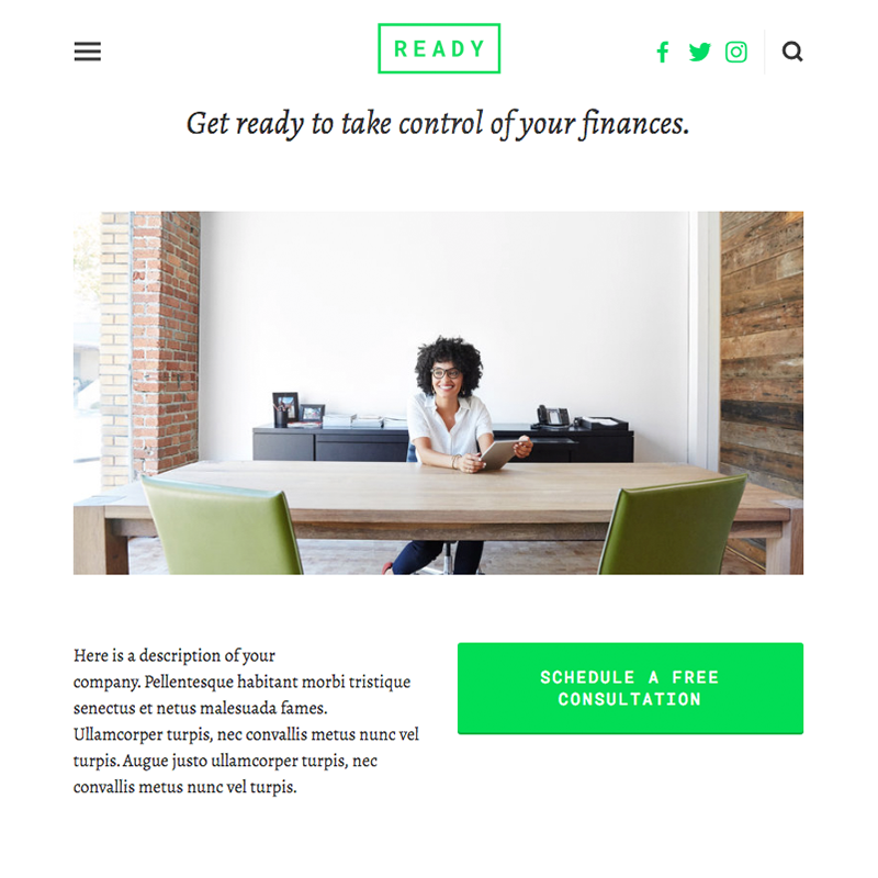 Ready Squarespace template