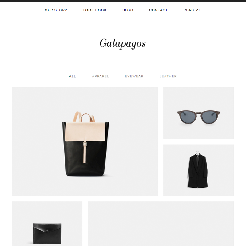 Galapagos Squarespace template family