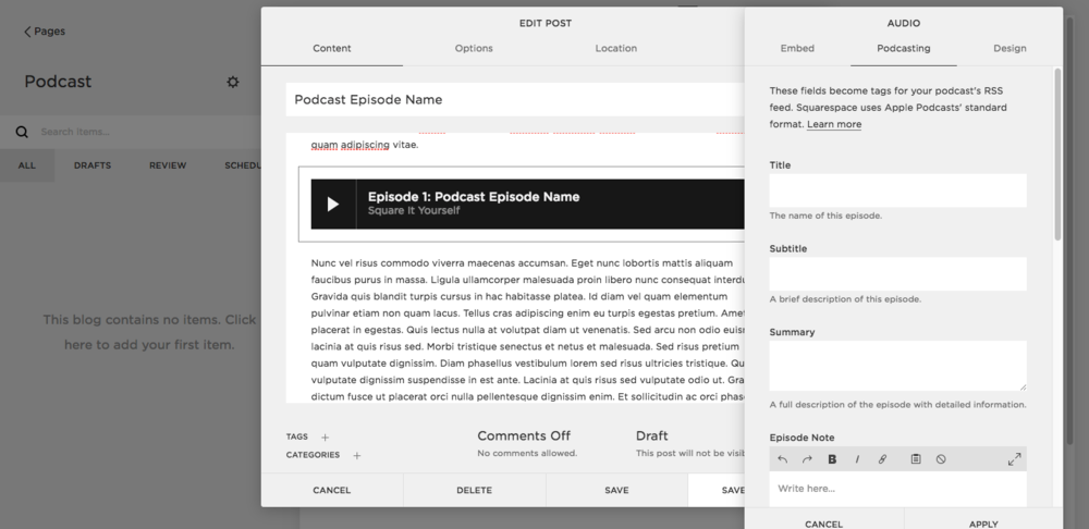 Adding a podcast episode to Squarespace