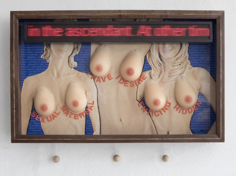 "Mixed media. Inkjet print, silicon breasts, scrolling LED text, raised letters, maple balls on cords, walnut frame. 42"" W x 26"" H x 5 3/4"" D"