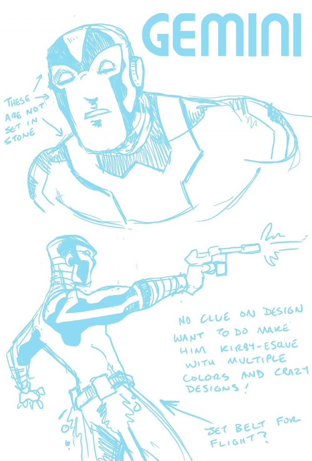 Lee's first Gemini design. Lots of potential here, but we both agreed we wanted a hero with a face.