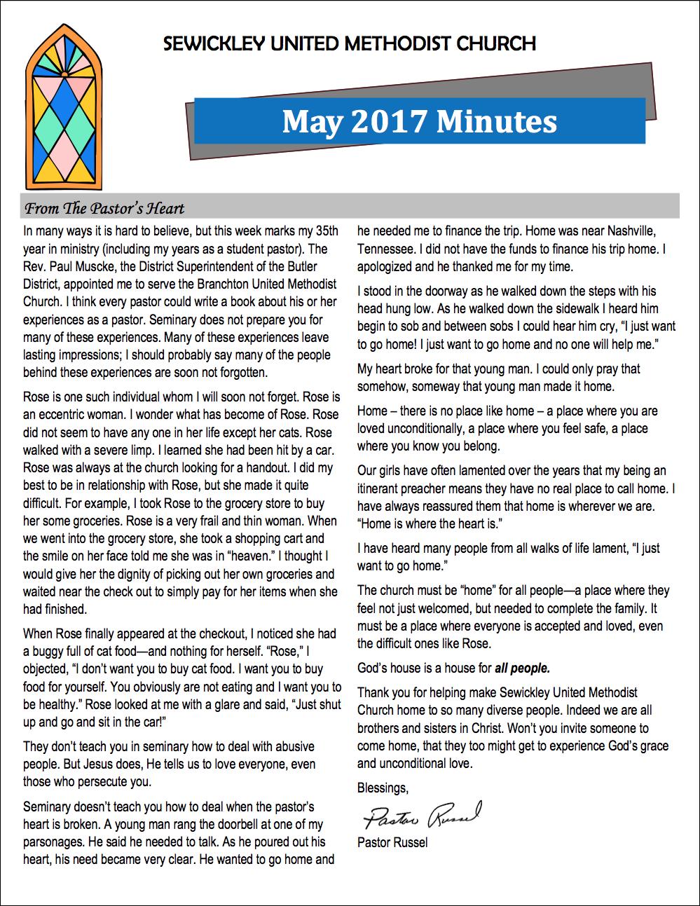 May 2017 Minutes