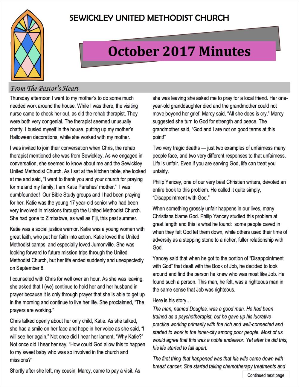 October 2017 Minutes