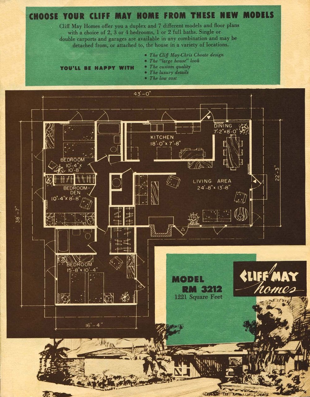 RM3212 Floor Plan from a 1955 Cliff May Homes Brochure