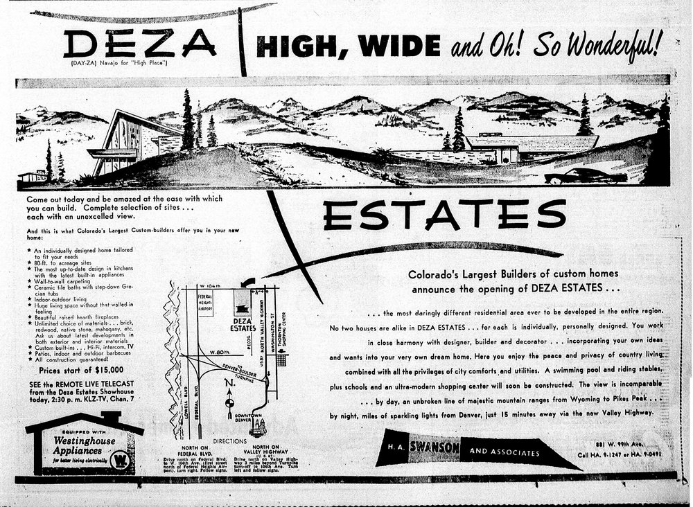1950s Marketing Materials for Deza Estates. Courtesy of  Northglenn Historic Preservation Commission .