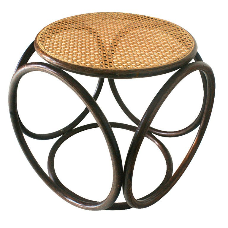 Thonet Bentwood and Cane Ottoman