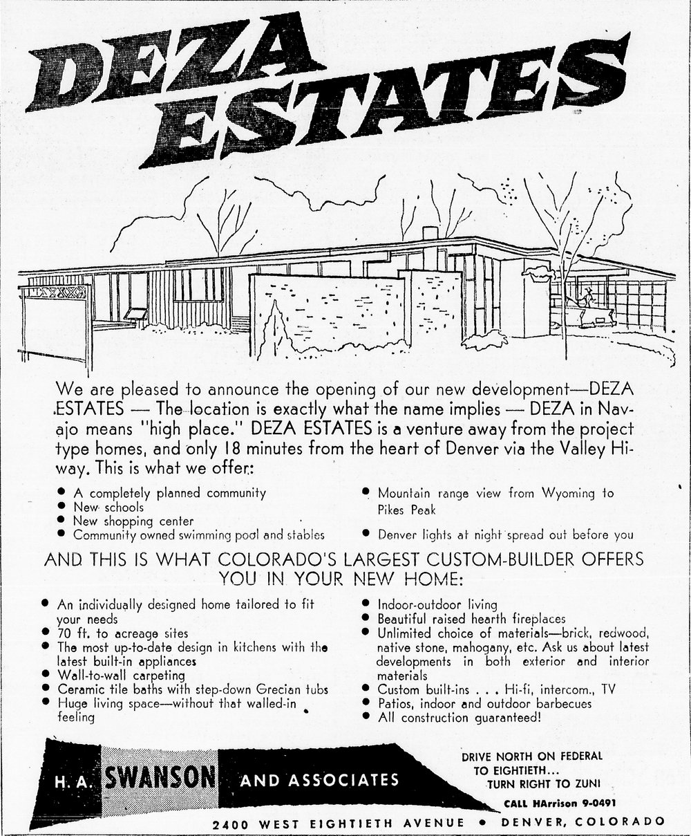 This is the original advertisement for the Deza Estates neighborhood in Northglenn, Colorado that was in the Denver Post in 1956.