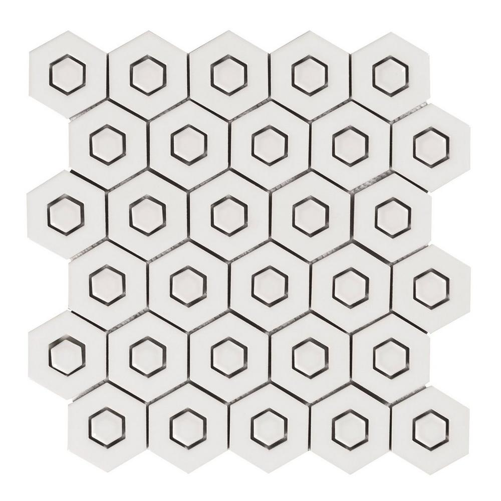 Floor & Decor | White Double Hexagon Polished Porcelain Mosaic