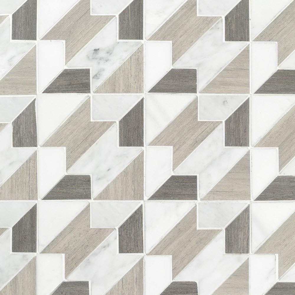 Floor & Decor | Viviano Marmo Houndstooth Carrara Blend Marble Mosaic