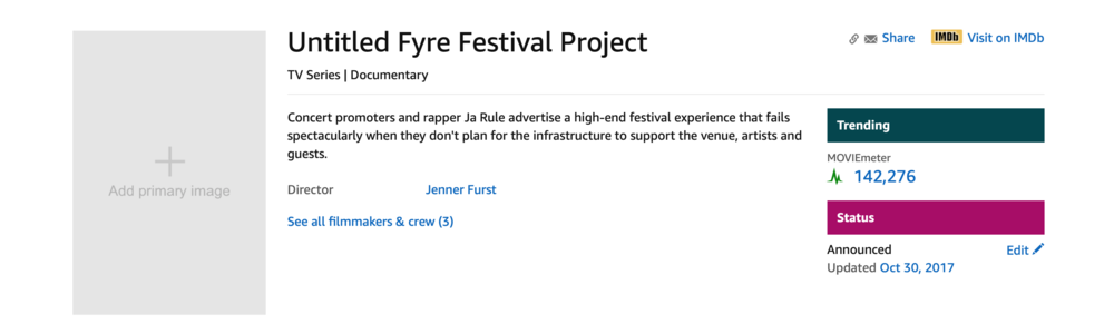 'Frye Fraud' - IMDB page 12 hours after the film's surprise drop on Hulu