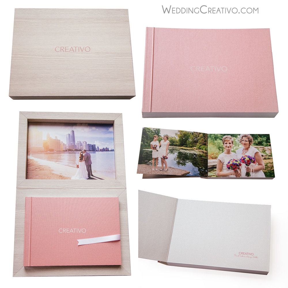 Wedding Album Design and Production:   Are your wedding images in hiding? Existing only on disk or on your computer? It is time to liberate them from digital prison. Creativo offers professional wedding albums in several formats: flush mount, HD printed, classic Italian, and matted. Contact us today to make a beautiful family heirloom album. We can make albums for anything: children, vacations, professional business portfolios, and more. See our  ALBUMS  page for details.