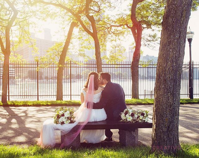 Shannon and John share a sweet moment on the park bench. #chicagowedding #chicagoweddingphotographer #weddingphotographer #weddingportrait #engaged #wedding