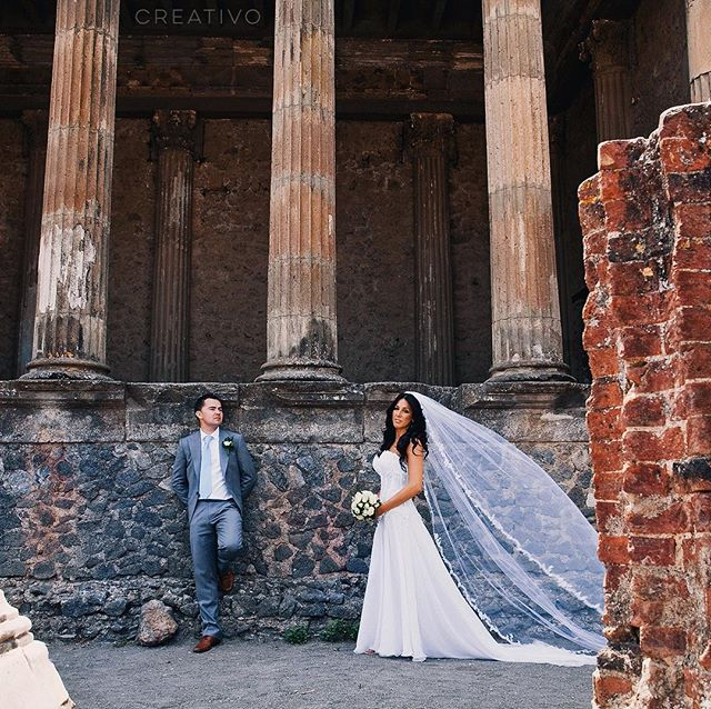 Helen and Dan in ancient Pompeii #destinationwedding #sorrentowedding #italywedding #pompeiiruins #pompeii #amalficoast #weddingphotographer