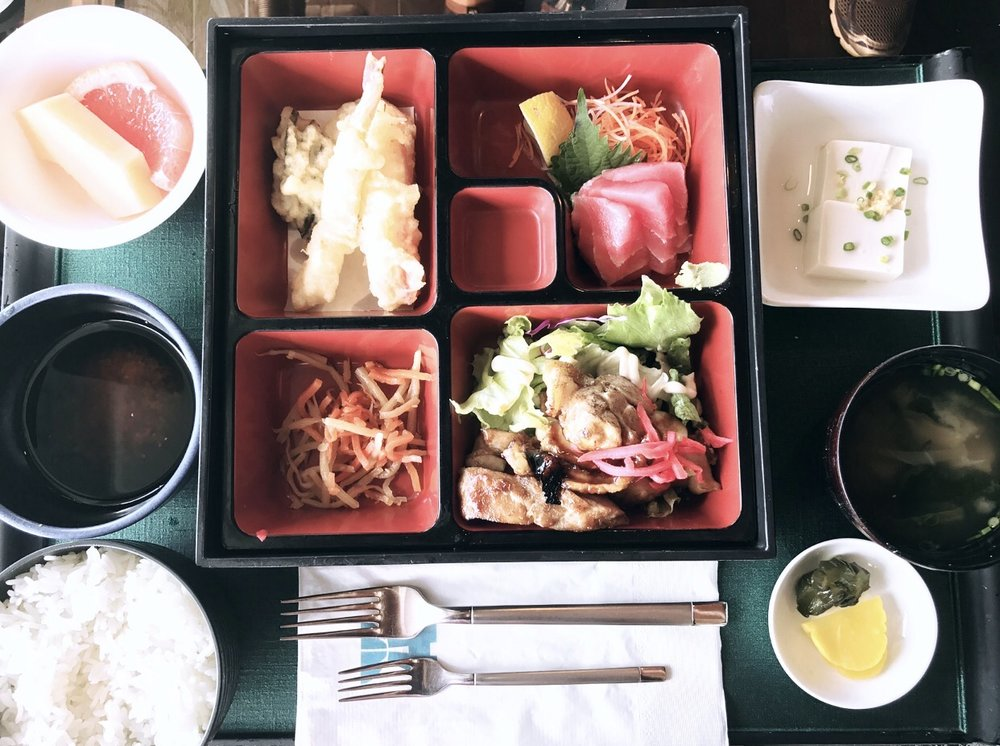 There is a lot of Japanese influence when it comes to food, so bento is a must! Here I have tempura, chicken teriyaki, sashimo, miso soup, Japanese pickles, rice, cold tofu and fruit. (Dolphin Restaurant, Grandvrio Hotel)