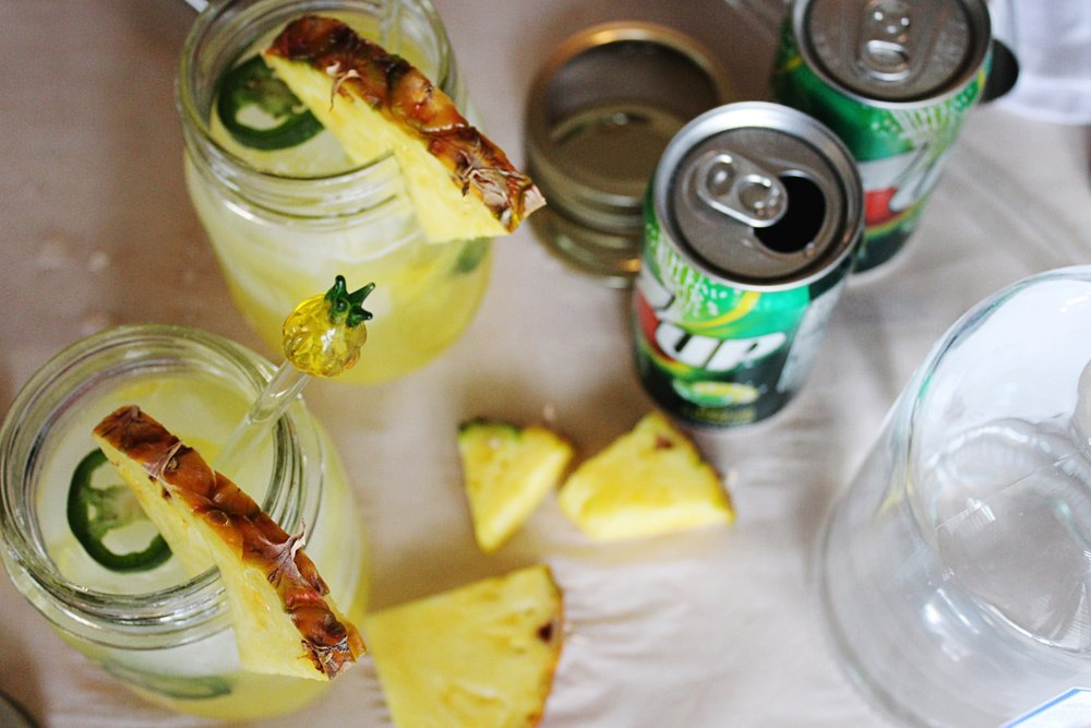 Pineapple Jalapeño Gin Fizz with 7up