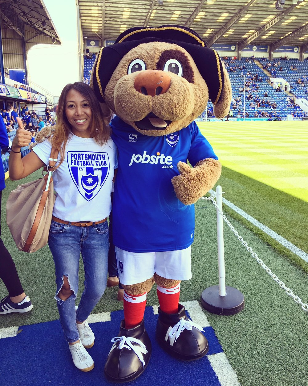 Prize Winner Devy with Portsmouth Football Club mascot Nelson
