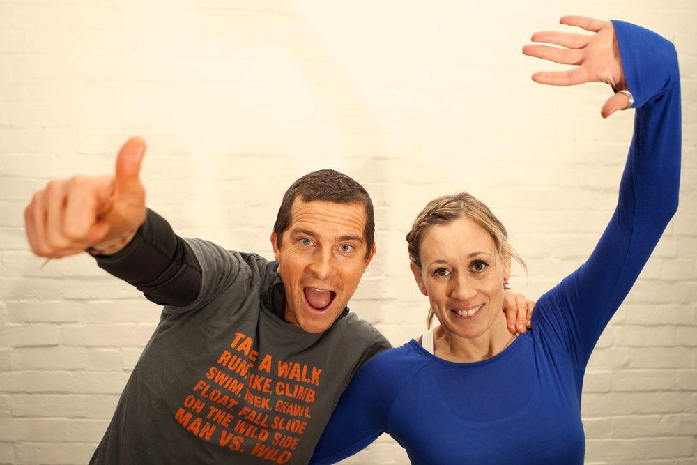 Natalie Summers with Bear Grylls