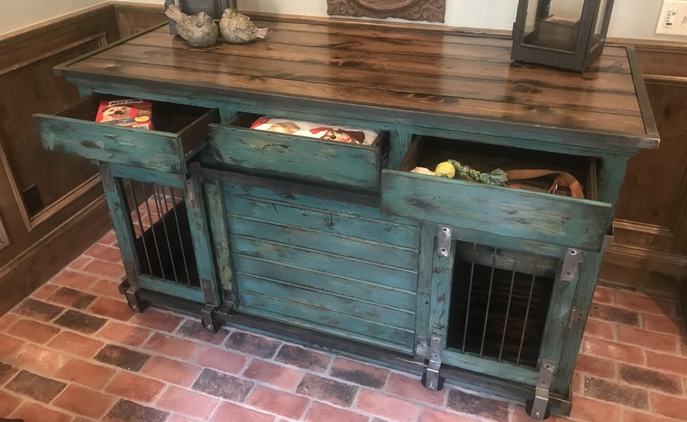 Dog Console Table ~ Dog crate sofa table functionalities