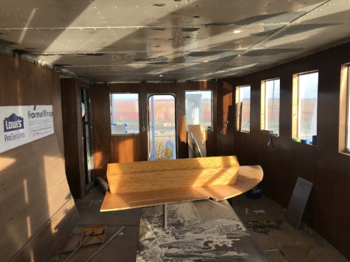 The Wardroom in January 2018.  The panel in the center of the room is a panel for the Wheelhouse.