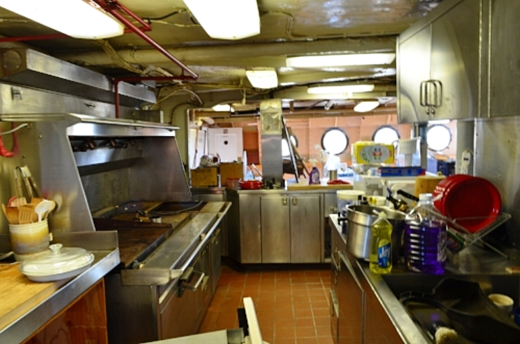 The galley in Spring of 2017.  Cooking line is left, sink is to the right., and the service line (steam table) is straight ahead.