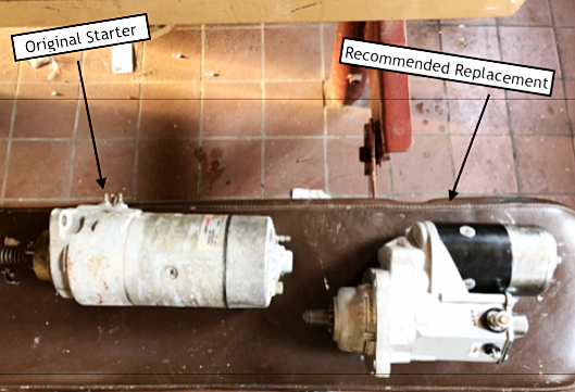 The original starter on the left. The recommended replace on the right.
