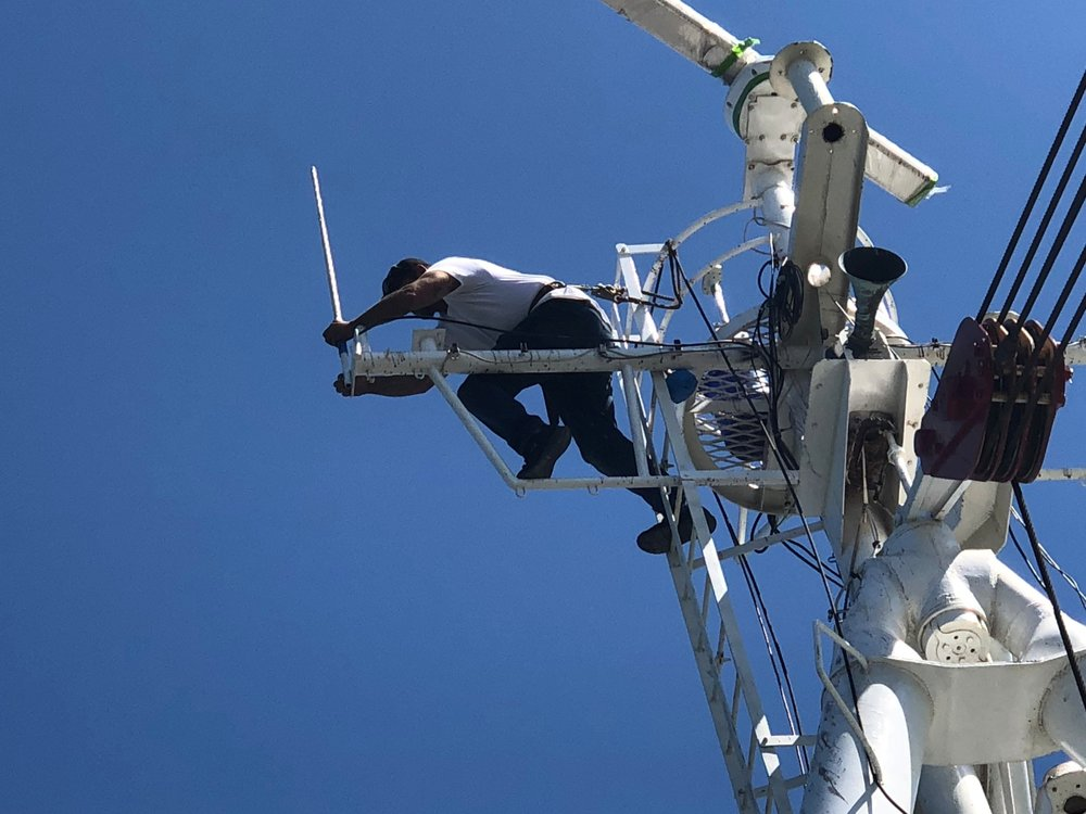 Joe installs one of the Shakespeare 6396 antennas.